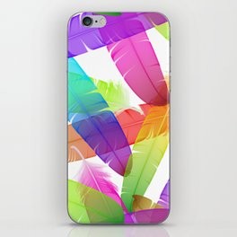 Colorful seamless feather vector pattern iPhone Skin