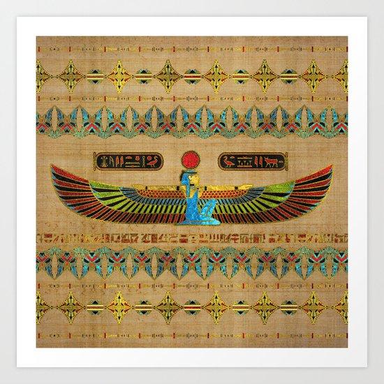 Egyptian Goddess Isis Ornament on papyrus by k9printart