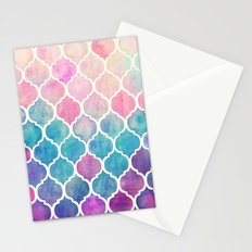 Rainbow Pastel Watercolor Moroccan Pattern Stationery Cards