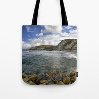 agnes Tote Bags featuring St Agnes by Mark Nelson