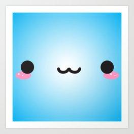 Kawaii Face (Blue) Art Print