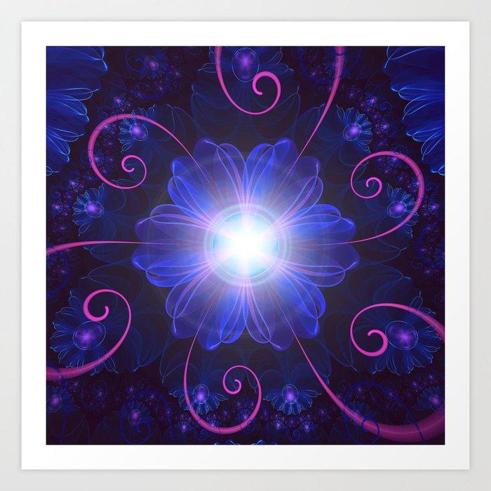 Beautiful Ultra Violet Fractal Nightshade Flower Kunstdrucke