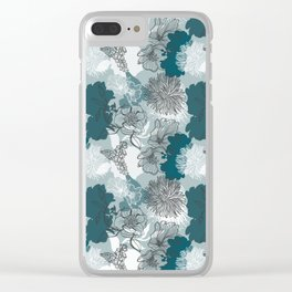 Blue Magnolia Pattern Clear iPhone Case