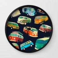 volkswagon Wall Clocks featuring Kombi Heaven by Buster Fidez