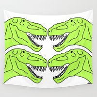 t rex Wall Tapestries featuring T Rex  by Highly Anticipated
