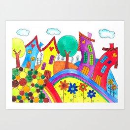 A Happy Town Art Print