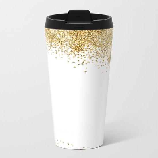 Sparkling golden glitter confetti effect II #Society6 Metal Travel Mug