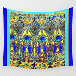 Decorative Blue Peacock Art Nouveau Themed Design Wall Tapestry