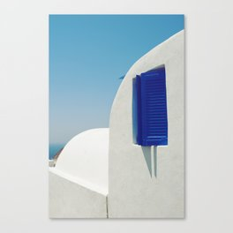 Santorini Blue & White Window Canvas Print
