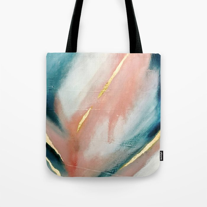 Celestial [3]: a minimal abstract mixed-media piece in Pink, Blue, and gold by Alyssa Hamilton Art Umhängetasche