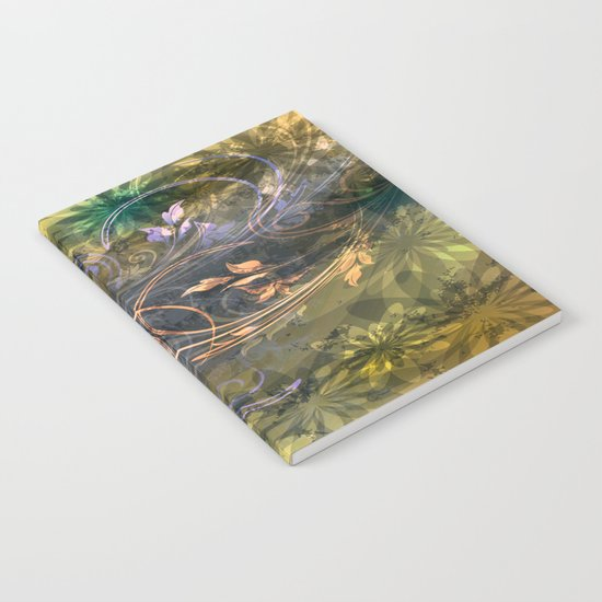 Earth Tone Floral Leaf Swirl Abstract Notebook