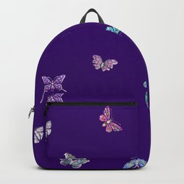 Christmas Butterfly Ornaments on purple Backpack