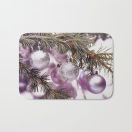 Pink Christmas shimmering baubles twig Bath Mat