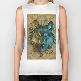 wolf art decor gold Biker Tank