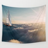 sailing Wall Tapestries featuring Sailing  by Lauren Epifanio