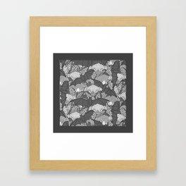 VINTAGE GREY BATS & WHITE LILIES Framed Art Print
