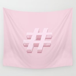 Pink Hashtag Wall Tapestry