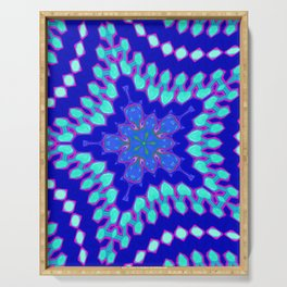 Navy Blue and Mint Abstract Star Geometric Serving Tray