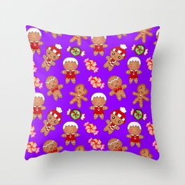 Cute Christmas seamless pattern. Happy festive gingerbread men and sweet xmas caramel candy. Throw Pillow