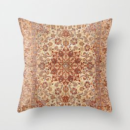 Persia Isfahan 19th Century Authentic Colorful Muted Cream Blush Tan Vintage Patterns Throw Pillow