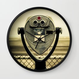 tourist retro coin operated binoculars on the beach in New York City Wall Clock