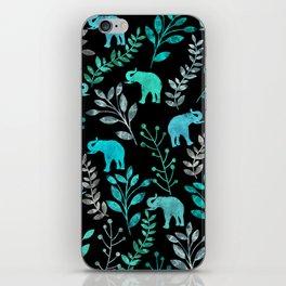 Watercolor Flowers & Elephants IV iPhone Skin
