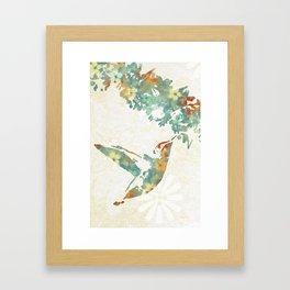 Colorful Teal Hummingbird Art Framed Art Print