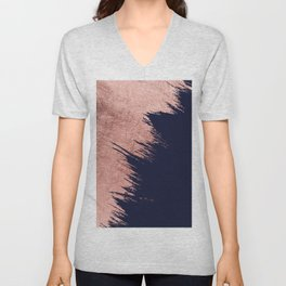 Navy blue abstract faux rose gold brushstrokes Unisex V-Neck