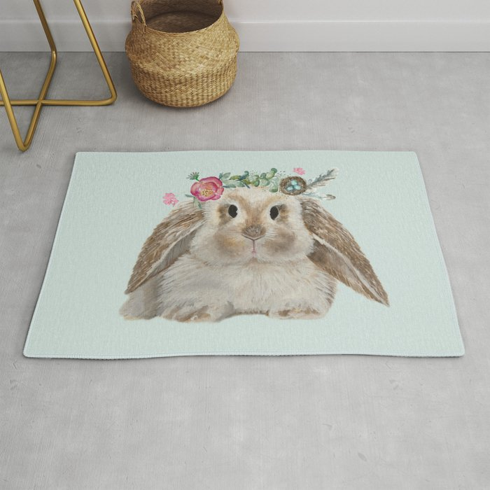 Spring Bunny with Floral Crown Rug