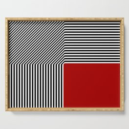 Geometric abstraction, black and white stripes, red square Serving Tray