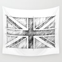 uk Wall Tapestries featuring UK Flag  Monochromatic Line Drawing by Vi Sion