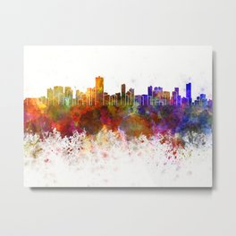 Salvador de Bahia skyline in watercolor background Metal Print