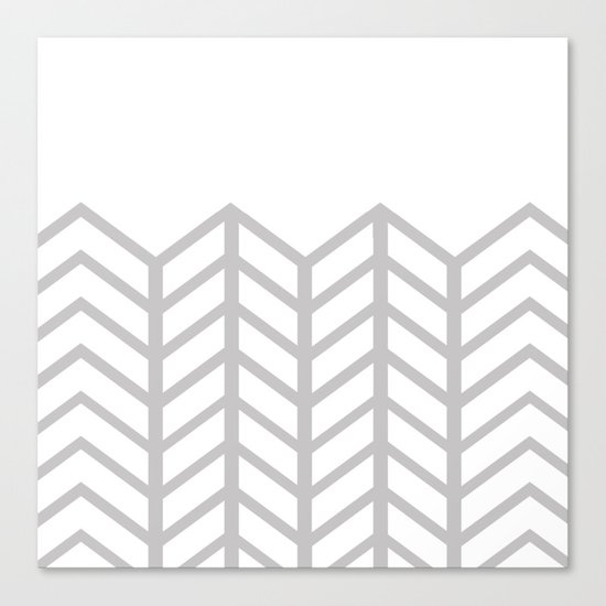 GRAY & WHITE LACE CHEVRON Canvas Print