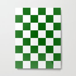 Large Checkered - White and Dark Green Metal Print