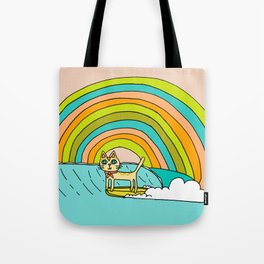 Rad Surf Kitty Tastes the Rainbow Single Fin Longboard Tote Bag