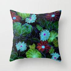 Oriental blossom (night version) Throw Pillow