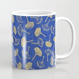 Ginkgo Biloba linocut pattern GLITTER GOLD DEEP BLUE Coffee Mug