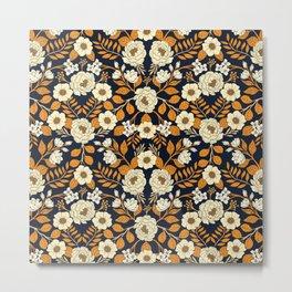 Navy Blue, Orange, Cream, Gold & White Floral Pattern Metal Print
