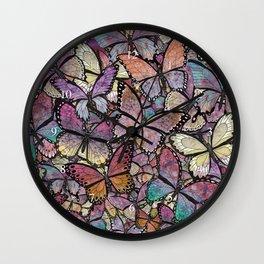 butterflies aflutter rosy pastels version Wall Clock