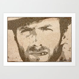 Text Portrait of Clint Eastwood (Blondie) with full script of The Good, The Bad and The Ugly Art Print
