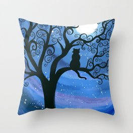 Meowing at the moon - moonlight cat painting Throw Pillow