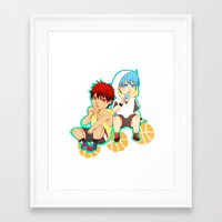kuroko Framed Art Prints featuring kagami taiga and kuroko tetsuya by angryorangecat