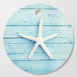 Starfish Beach Photography, Aqua Seashell Art, Coastal Nautical Photograph Cutting Board