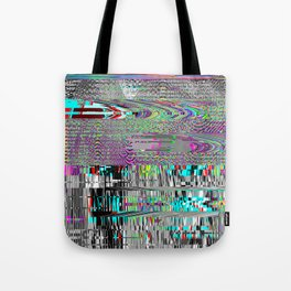 Glitch psychedelic background. Old TV screen error. Tote Bag