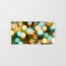 Abstract holiday Christmas background with blue and yellow Hand & Bath Towel
