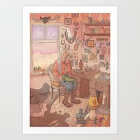cowboy Art Prints featuring Cowboy by Rory Midhani