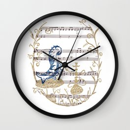 """Who Are You?  (blue caterpillar from Lewis Carroll's """"Alice's Adventures in Wonderland"""") Wall Clock"""