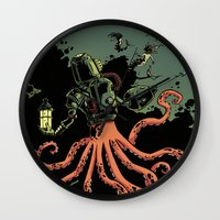 scuba Wall Clocks featuring tentacle scuba by Sarah Baslaim