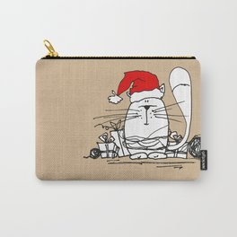 Cute Little X-mas Kitty Cat Carry-All Pouch