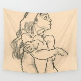 "Egon Schiele ""Seated Nude Girl Clasping Her Left Knee"" Wall Tapestry"